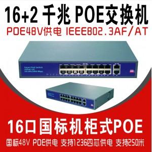 16口机柜式国标POE交换机千兆G1602-Q